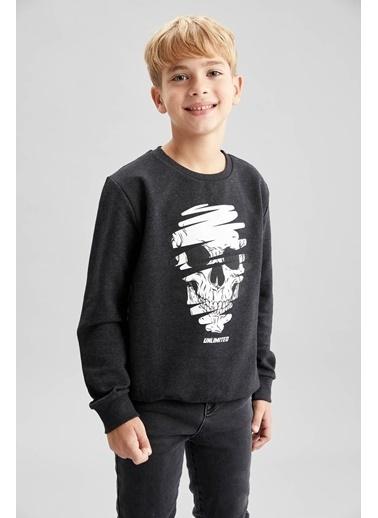 DeFacto Erkek Çocuk  Baskılı  Sweatshirt Antrasit